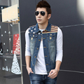 New Arrival Male Denim Vest 2016 Spring and Autumn Slim Top Vest Sleeveless Outerwear