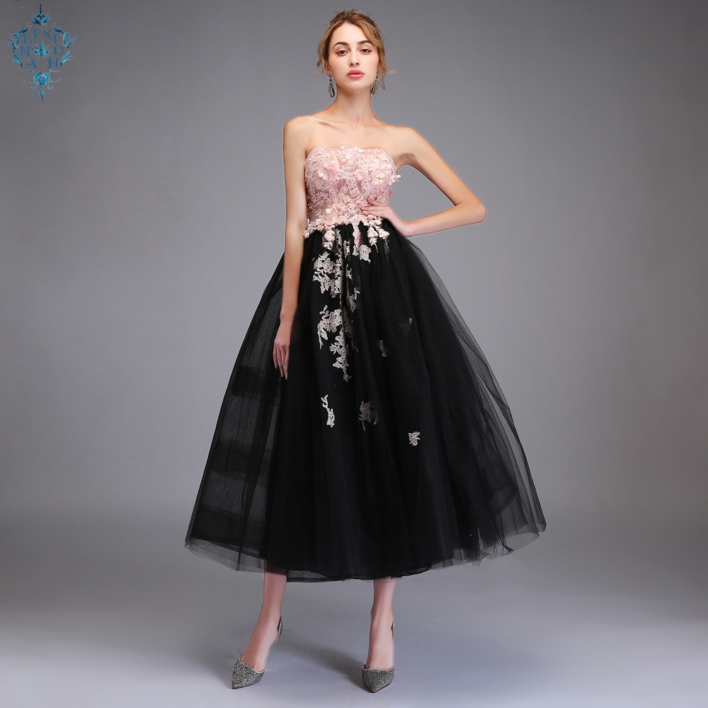 Ameision Fashion New Sweet Pink with Black Evening Dress Strapless Sleeveless Lace Applique Tea length Party Gown Formal Dresses in Evening Dresses from Weddings Events