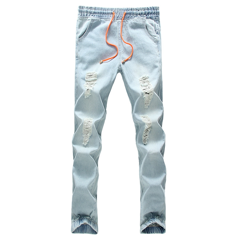 2017 new arrivel spring and summer fashion nine pants elastic hole ankle banded  jeans large size S-5XL
