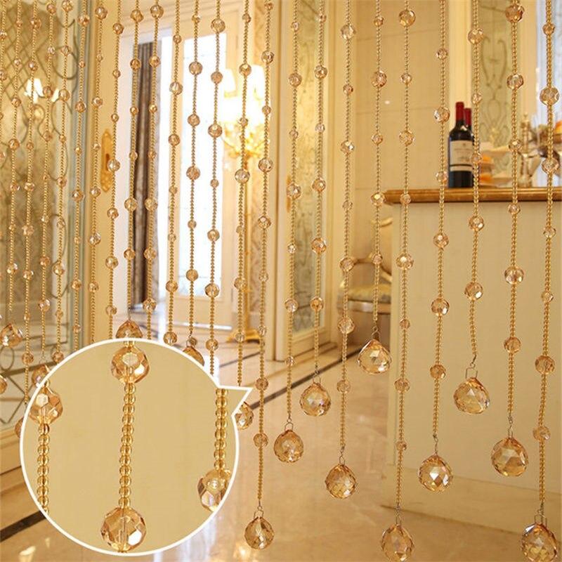 Perles de luxe à la main chaîne rideau en cristal pour intérieur mariage maison salon fenêtre porte décor - 2