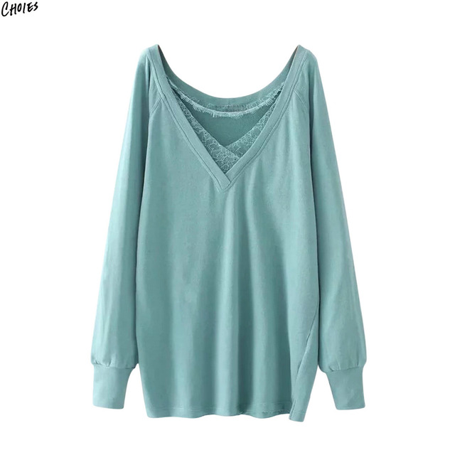 39746bd4355f 2 Colors Patchworked Lace Split Side Longline Oversized Sweatshirt ...