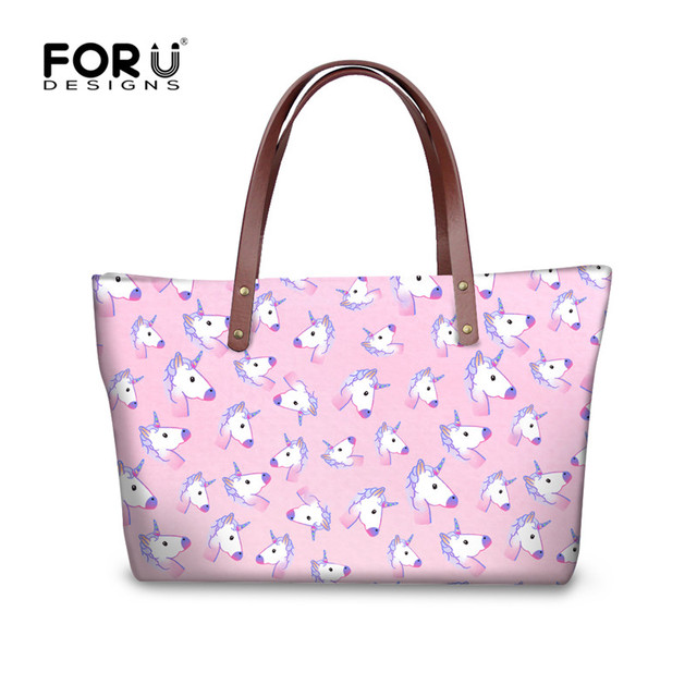 744f096b3180 US $24.39 39% OFF|FORUDESIGNS Fashion Handbags Women's Rainbow Unicorn  Travel Tote Bags Female Large Shoulder Bag Youth Girls Casual Beach  Handbag-in ...