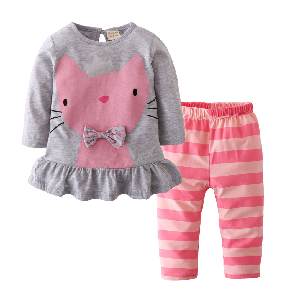 821e7c127 2018 New Sale Baby Girl Clothes Baby Romper Cartoon Cat Long sleeved ...