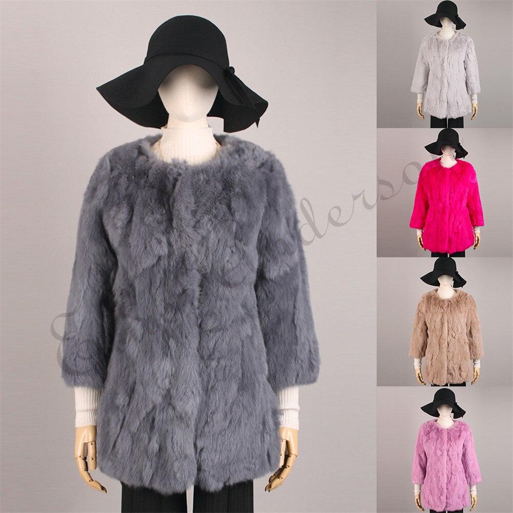 Ethel Anderson Women's  Real Rabbit Fur Coat Long Jacket Vintage Style OL Outwear O-Neck