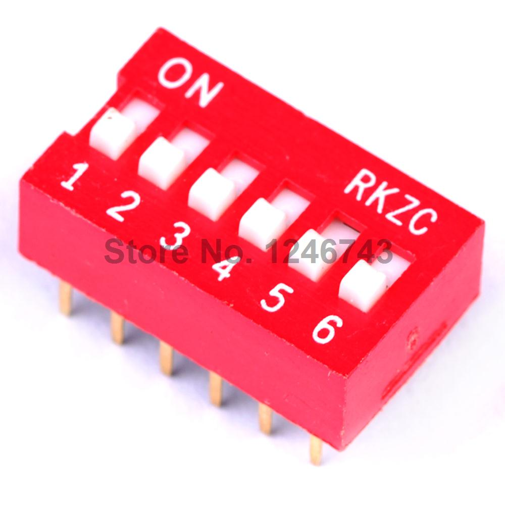 10PCS/Lot 6 Bits Dial Switch Toggle Switch Digital Switch 2.54MM DIP