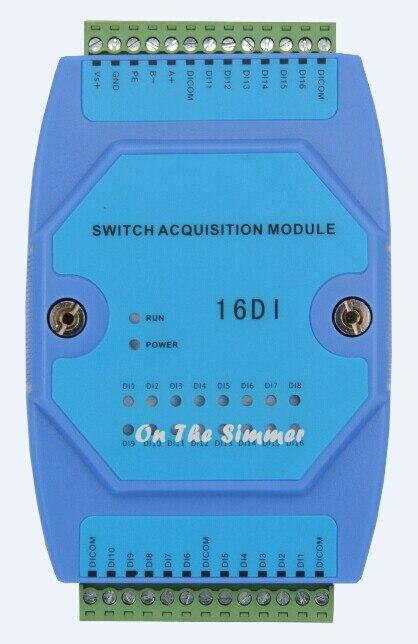 Module d'entrée général à 16 commutateurs module d'acquisition d'entrée à noeud sec isolation photoélectrique de communication RS485
