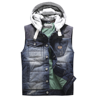 Classic Denim Vest Men Slim Fit Sleeveless Jean Jacket Vests Turn down Collar Waistcoat For Men