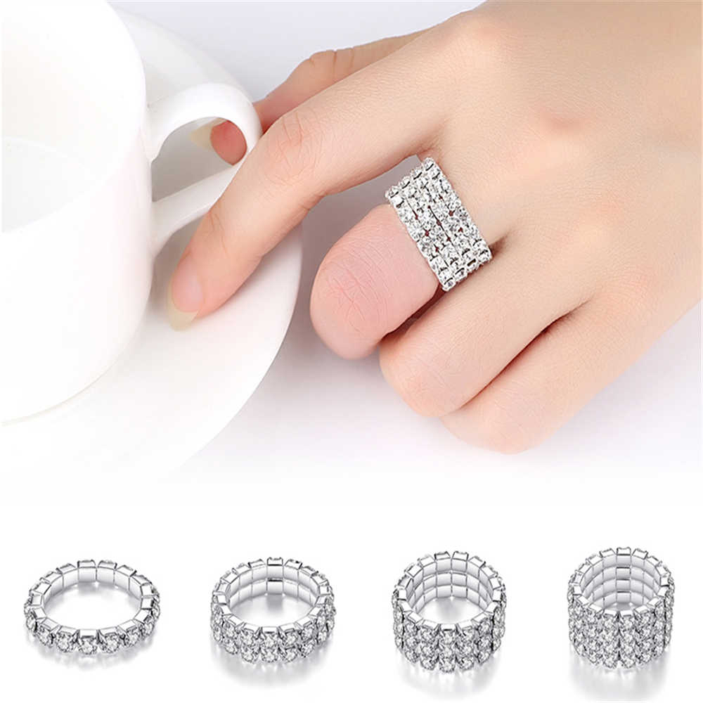 2019 Korean Fashion Elastic Zircon Multiple Rows Rings for Women 1/2/3/4 Row Rhinestones Silver Color Finger Rings Jewelry Gifts