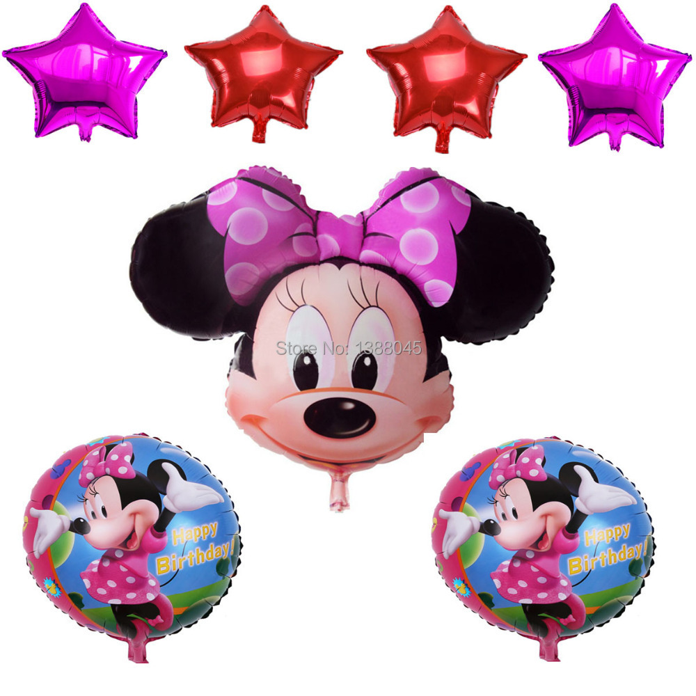 7pcs lot minnie mouse theme party party decoration for 1 year birthday decoration