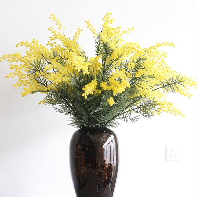 80 Cm Artificielle Mimosa Pudica Acacia Fleurs Bouquet Jaune