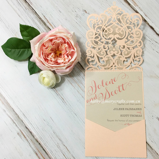 100pcs Peach Laser Cut Wedding Invitation Cards With Latest Designs(China)