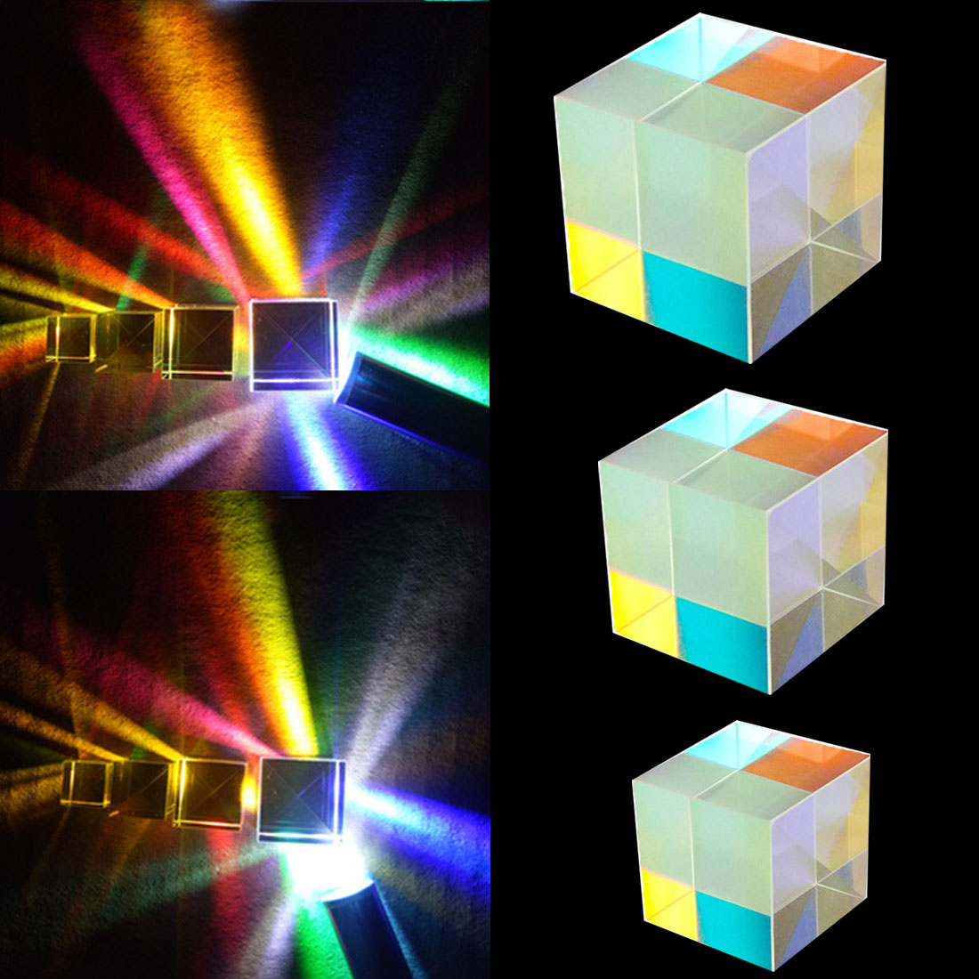Optical Instruments Colorful Prism Six-Sided Bright Light Combine Cube Prism Stained Glass Beam Splitting Prism