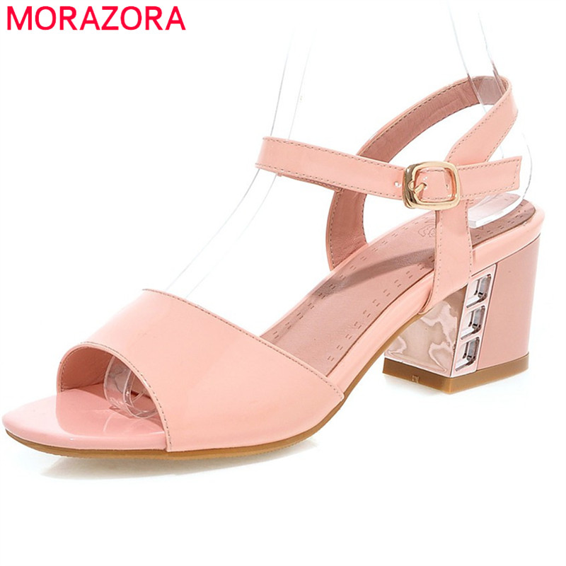 MORAZORA new fashion 2018 spring summer shoes with buckle high heels elegant sexy women sandals wedding party shoes 2014 spring and summer new elegant gold buckle leather shoes women shoes carrefour