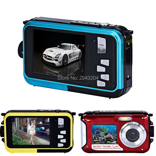 Dual Screen Camera HD LCD Screen 16X Digital Zoom 24MP Max Waterproof Diving 3M Digital Camera