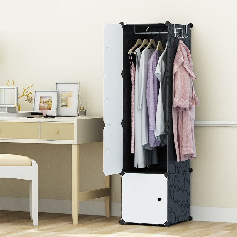 Small Single Simple Wardrobe Students Assembled Dormitory Wardrobe Plastic Stainless Steel Bedroom Storage Cabinets