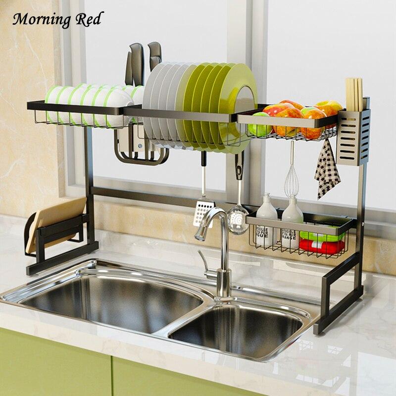 Jamais rouille évier plat Rack cuisine Drain vaisselle rangement étagère organisateur acier inoxydable polyvalent haute qualité matériel