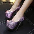 Сексуальная обувь peep toe женщин высокие каблуки насосы женские летние сандалии фиолетовый обувь серебряные каблуки женская обувь на каблуках pom pom сандалии Y948