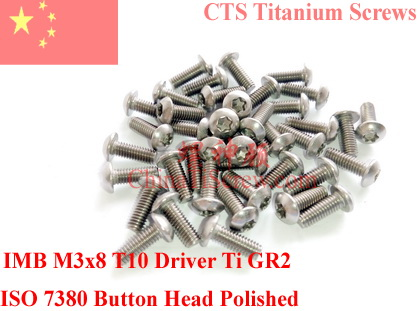 Titanium screw M3x8  Button Head Torx T10 Driver ISO 7380 Ti GR2 Polished 50 pcs 7380 fan7380 sop 8