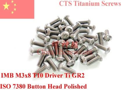 Titanium screw M3x8  Button Head Torx T10 Driver ISO 7380 Ti GR2 Polished 50 pcs 20pcs m3 6 m3 x 6mm aluminum anodized hex socket button head screw