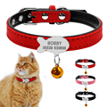 Personalizado suave acolchado perro Collar personalizado gato ID etiqueta grabado gratis nombre Teléfono No. campana de regalo para cachorros perros gatos rosa