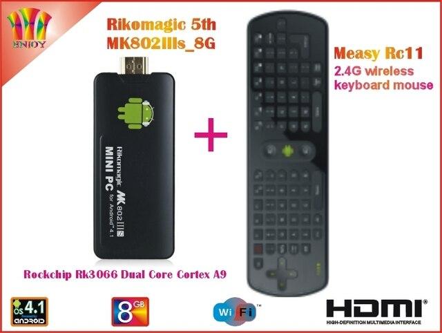 Rikomagic 5th MK802IIIs Android 4.1 PC Android Set top box RK3066 Cortex A9 1GB RAM 8G ROM [MK802IIIs/8G] + Measy Air Mouse Rc11