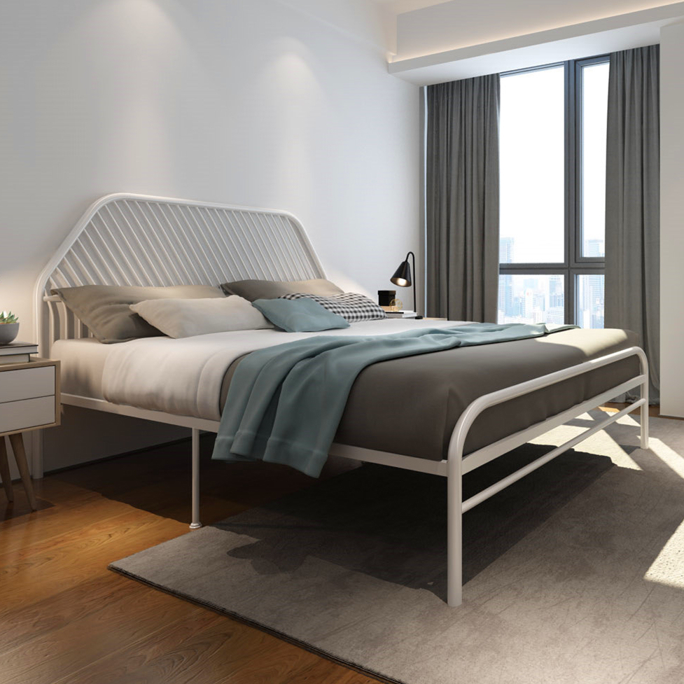 Home Furniture Simple European Style Iron Bed Double Bed 1.8 1.5 1.2 Meters Children Bed White Princess Bed