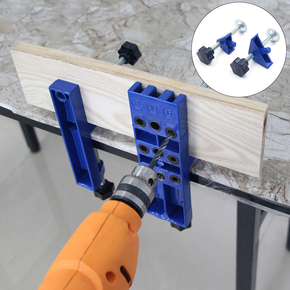 Woodworking Tools Jig Set With Aligning Clamps Dowel Pins Depth Stop Collars Wood Drill Guide Kit For Joinery Hole Saw Tools