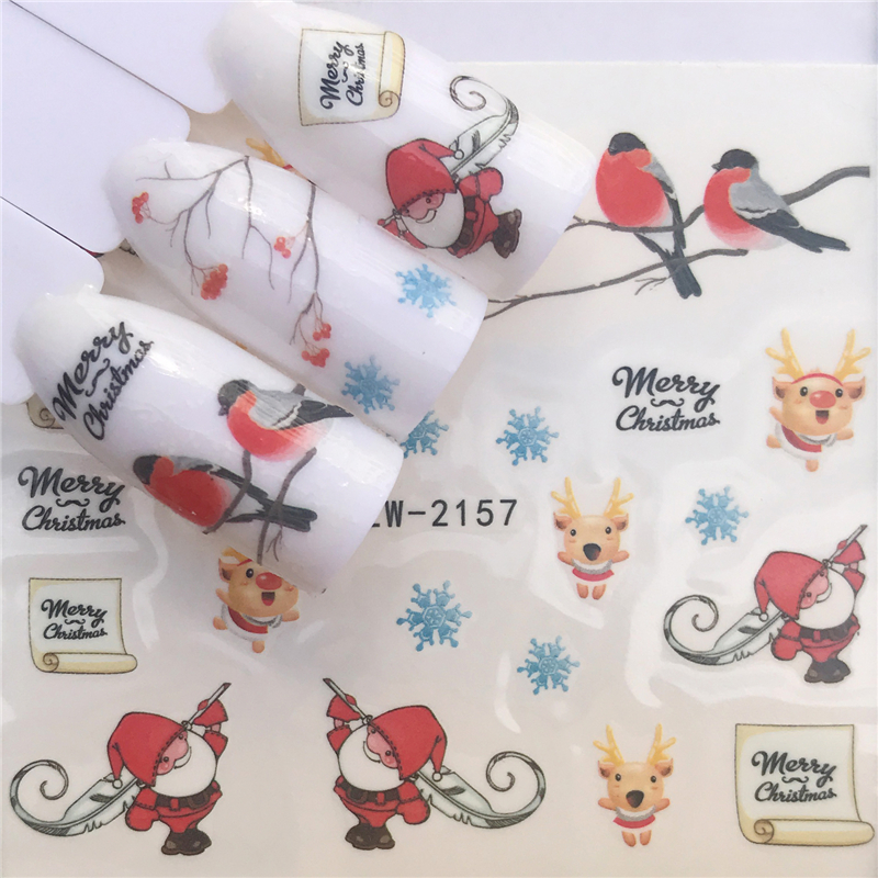 LCJ  Christmas Nail Stickers DIY Nail Art Tattoo Decals Self Adhesive Tip Stickers Decoration 2