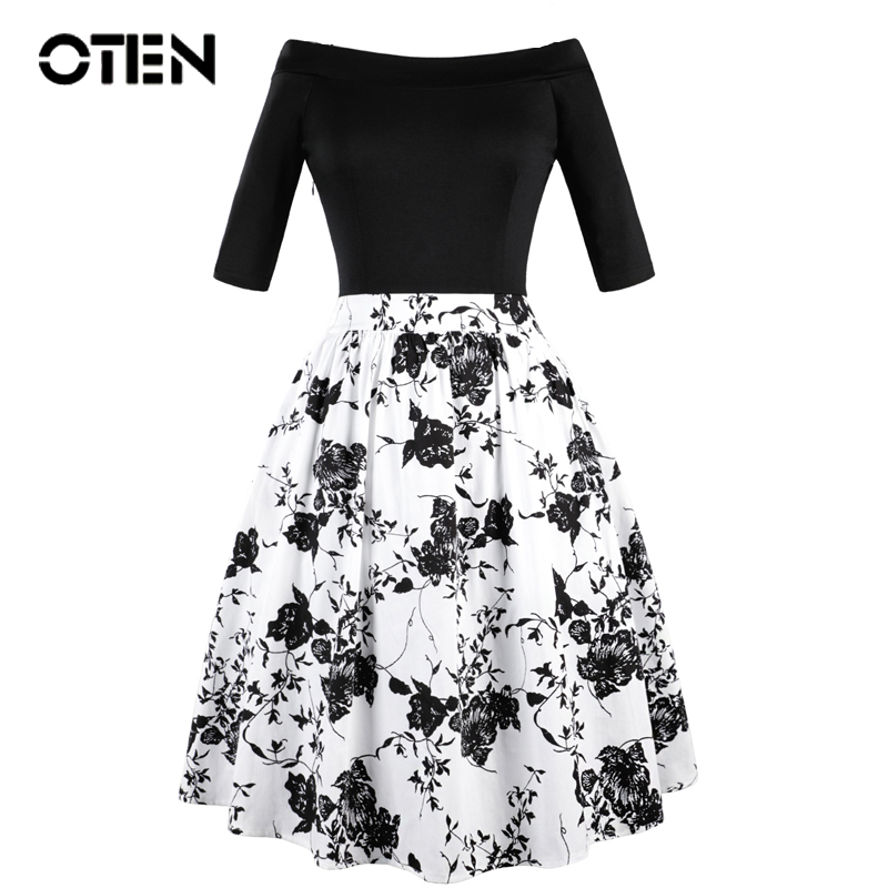 GIRLS 50s STYLE WHITE BLACK SWIRL FLORAL PRINT LACE CONTRAST SKATER PARTY DRESS