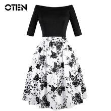 a26078f2b8b0 OTEN 2018 Summer Women Half Sleeve Black White Floral Print Elegant Ladies  Skater Pleated midi party