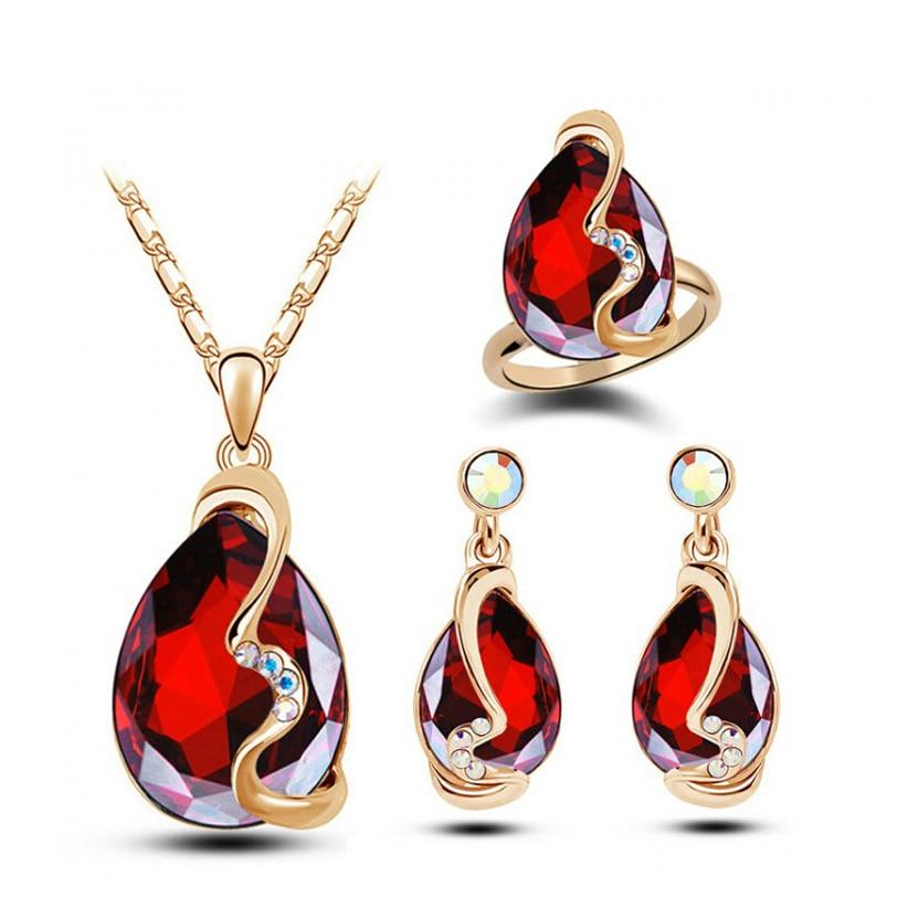 Austria font b Crystal b font font b Earrings b font Necklace Rings Sets 18 K
