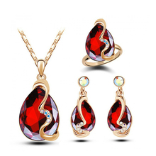 Austria Crystal Earrings Necklace Rings Sets 18 K Gold Plated Women Bridal Classic Wedding rhinestone romantic Jewelry Set