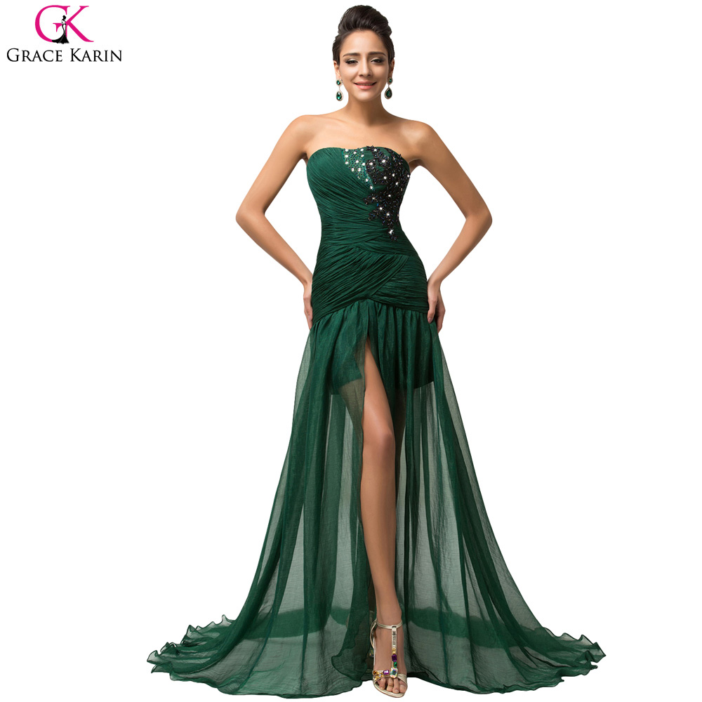 Long emerald green evening dress grace karin high slits for Long elegant dresses for weddings