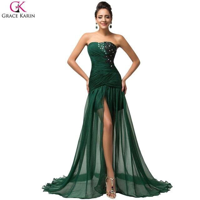 Lungo verde smeraldo vestito da sera grace karin alta slits furcal elegante  formale abiti da sera 80d2166f335