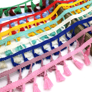 2 yards Lace Trim Sewing Ribbon Tassel Fringe Cotton Ethnic Latin Dress Stage Garment Curtain Decorative Diy