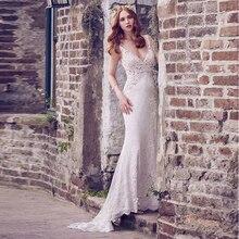 Verngo Mermaid Wedding Dress Lace Boho Wedding Dress V-Back Bride Dress V-neckline Wedding Gowns Vestidos De Novia 2019 недорого