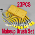 Free Shipping+Drop Shipping Newest 23 pcs Cosmetic Facial Make up Brush Kit Makeup Brushes Set with yellow Leather Case