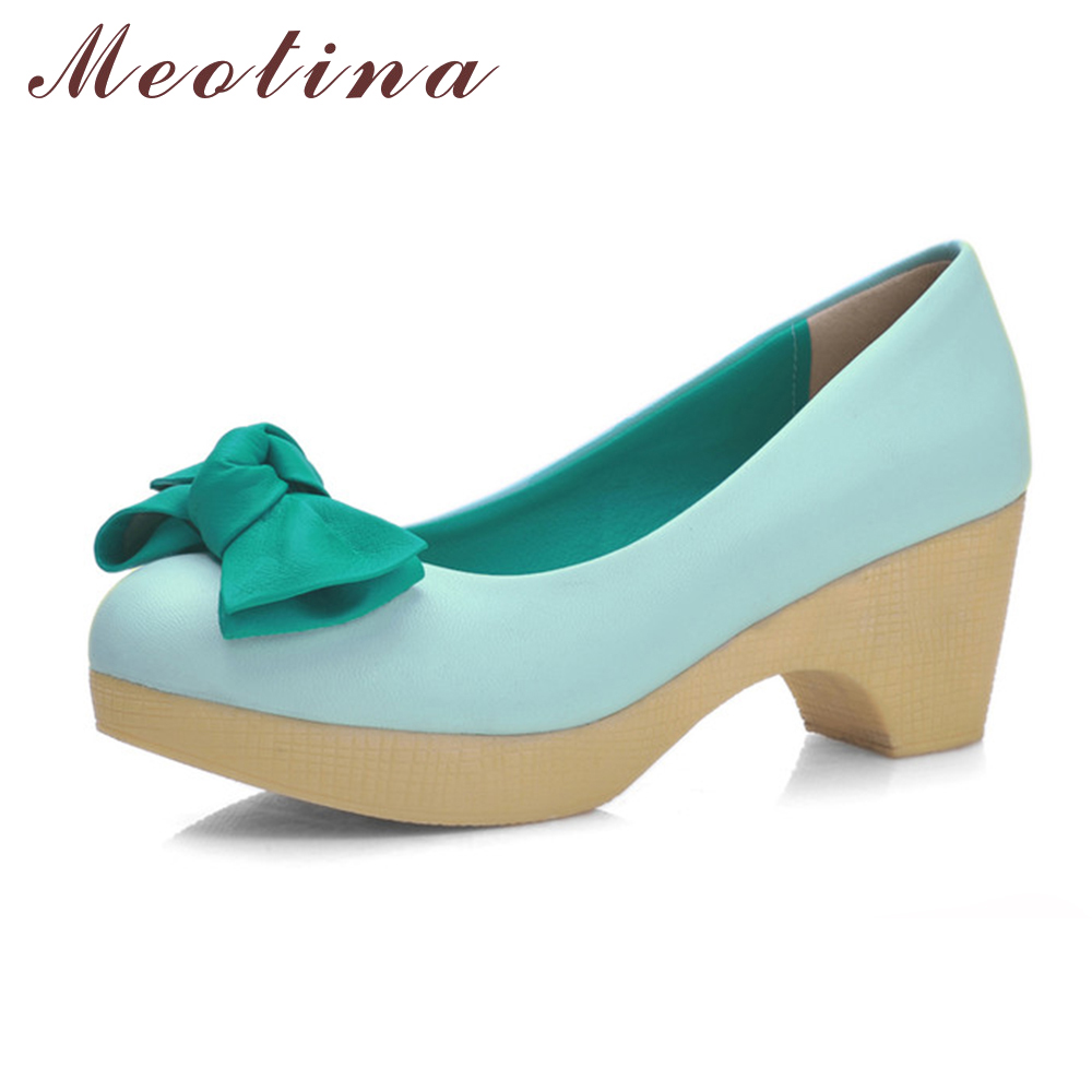 Meotina Shoes Women Pumps Thick High Heels Platform High Heels Ladies Blue Shoes Bow Casual Shoes Beige Pink Plus Size 34-43 meotina high heels shoes women pumps party shoes fashion thick high heels pointed toe flock ladies shoes gray plus size 10 40 43