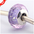 Fits Pandora Jewelry Bracelet 100% 925 Sterling Silver Glass Beads Purple Shimmer Original Authentic Fashion Charm DIY Wholesale