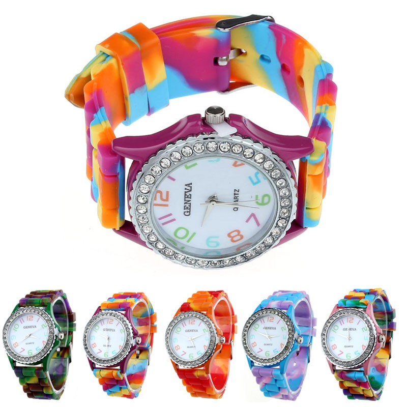 Womens Watches Silicone Crystal Bling Analog Quartz Wrist Watch Orange Blue Hot Pink Green Purple Horloges Mannen montre femme super speed v0169 fashionable silicone band men s quartz analog wrist watch blue 1 x lr626