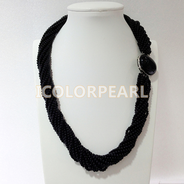 Multistrand 4mm Black round Natural Freshwater Pearl And Red Coral Necklace.Best for Bridal Jewelry!