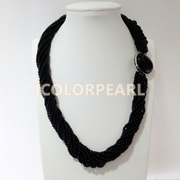 WEICOLOR Multistrand 4mm Black Stone Necklace.