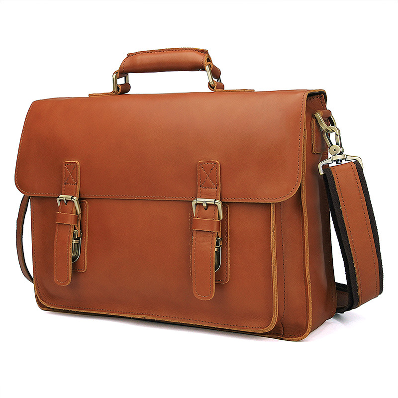 Nesitu Brown Durable Thick Vegetable Tanned Genuine Leather Men's Briefcase Portfolio 14'' Laptop Men Messenger Bags M7105
