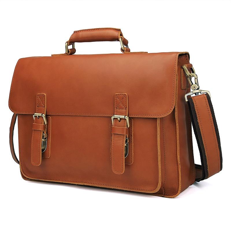 Nesitu Brown Durable Thick Vegetable Tanned Genuine Leather Men's Briefcase Portfolio 14'' Laptop Men Messenger Bags M7105
