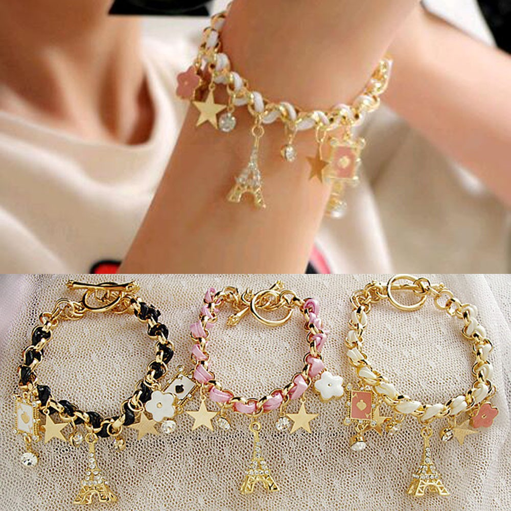 Vienkim New Hot sell  Fashion Jewelry Multielement Gold Chain Leather Rope Crystal Handmade Bracelet Eiffel Tower Star Pendant 3