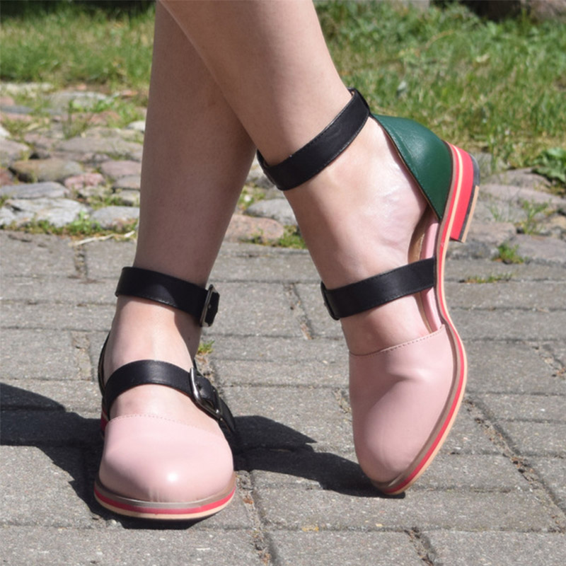 d645da7f0aa [HOT DEAL] US $116.98 for Women sandals 2019 summer yinzo ladies flat  genuine leather wedges vintage platform double buckle red shoes for woman  sandals