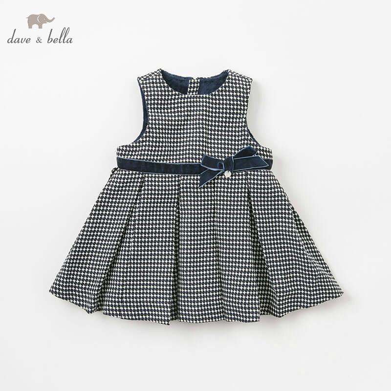 DBM8652 2 dave bella autumn navy dress baby girl s sleeveless dresses kids birthday party dress
