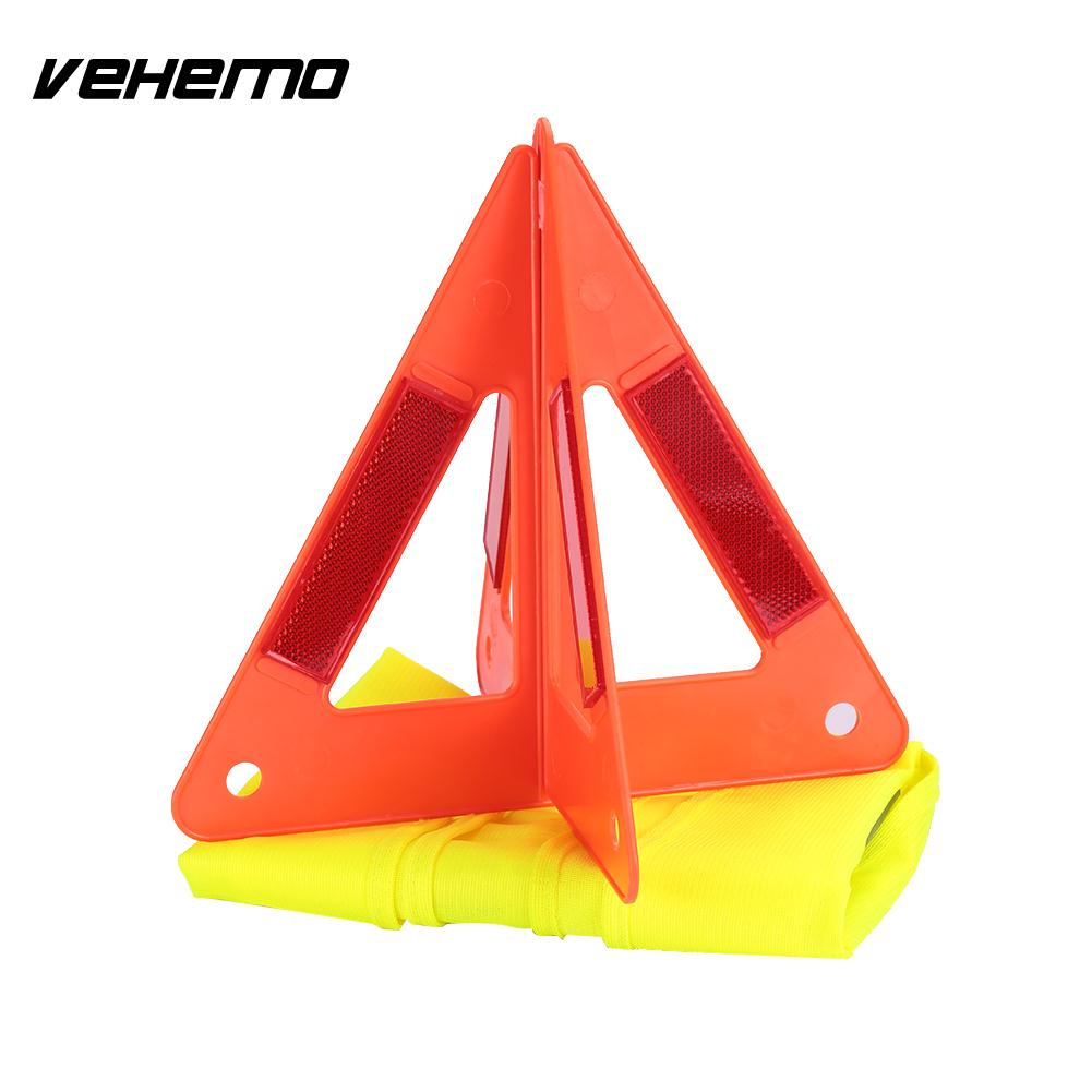 Vehemo Reflective Tripod Emergency Plastic Reflector Safety Sign Triangle Car Accessories Orangered Warning Board Portable ...
