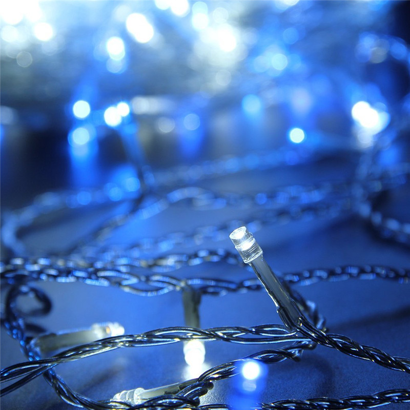 Imperméable à l'eau bleu et blanc Led chaîne fée lumière 100 m noël lumières 220 V chaud blanc froid pour la fête de mariage lumière de vacances