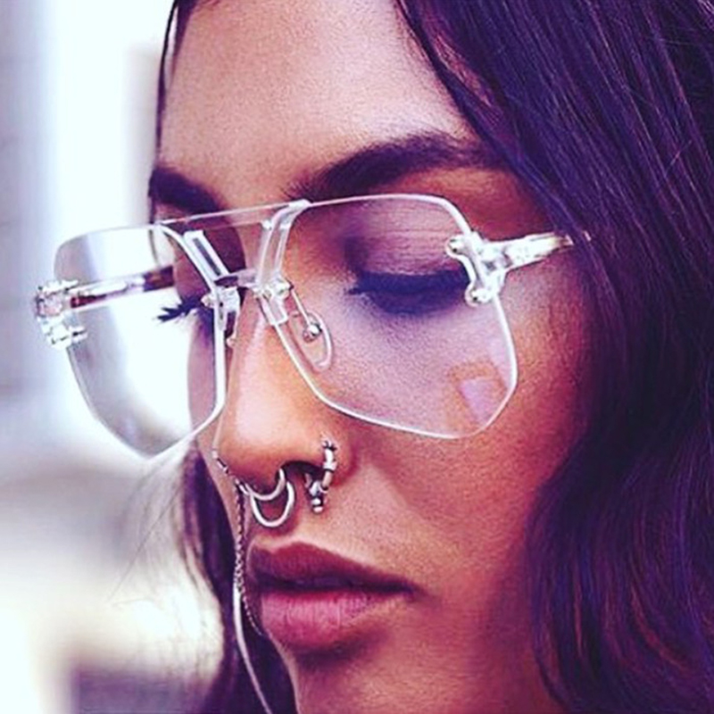 Unique Women Rimless Sunglasses Oversized Vintage Gradient